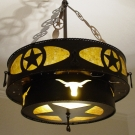 Western steel and mica chandelier.